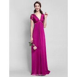 Floor-length Jersey Bridesmaid Dress - Fuchsia Plus Sizes / Petite Sheath/Column V-neck