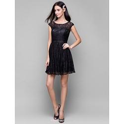 Short/Mini Lace Bridesmaid Dress - Black A-line Scoop