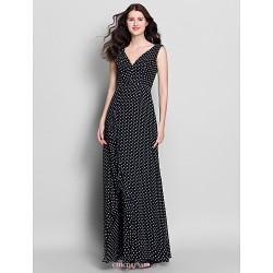 Ankle Length Chiffon Bridesmaid Dress Print Sheath Column V Neck