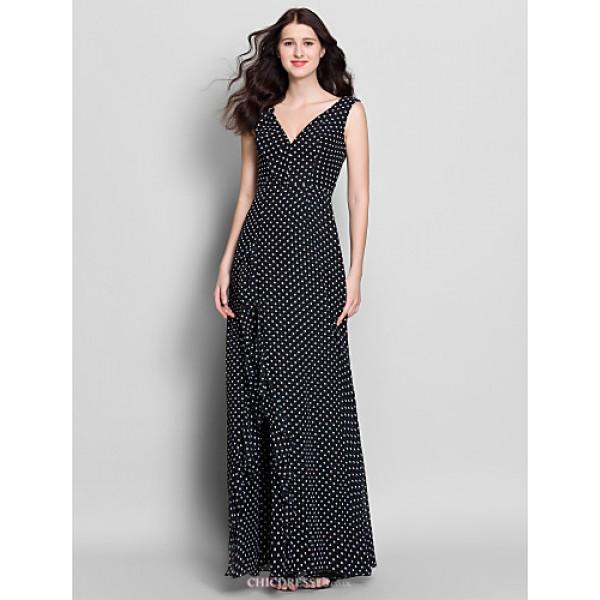 Ankle-length Chiffon Bridesmaid Dress - Print Sheath/Column V-neck Bridesmaid Dresses