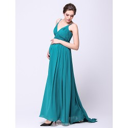 Formal Evening Dress Dark Green Maternity A Line Spaghetti Straps Sweep Brush Train Chiffon