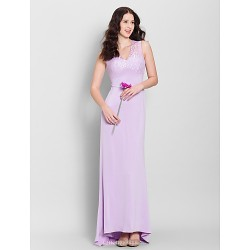 Sweep/Brush Train Lace / Jersey Bridesmaid Dress - Lilac Sheath/Column V-neck