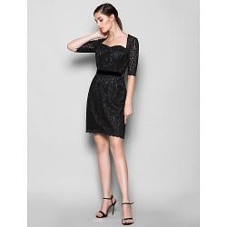 Knee-length Lace Bridesmaid Dress - Black Plus Sizes / Petite Sheath/Column Sweetheart