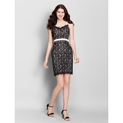 Short Mini Lace Bridesmaid Dress Black Sheath Column Jewel