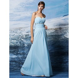 Formal Evening Dress - Sky Blue Plus Sizes / Petite Sheath/Column Strapless / Sweetheart Floor-length Georgette