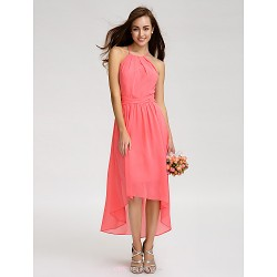 Asymmetrical Georgette Bridesmaid Dress - Watermelon A-line Spaghetti Straps
