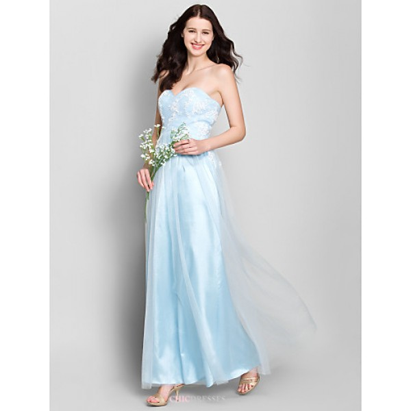 Ankle-length Lace / Tulle Bridesmaid Dress - Ivory / Sky Blue A-line Sweetheart Bridesmaid Dresses