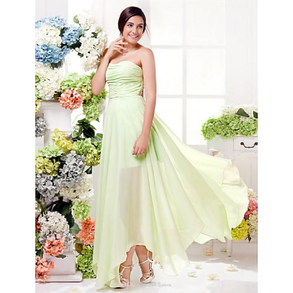 Asymmetrical Chiffon Bridesmaid Dress - Sage Plus Sizes / Petite Sheath/Column Sweetheart Bridesmaid Dresses
