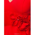 Floor-length Chiffon Bridesmaid Dress - Ruby Plus Sizes / Petite Sheath/Column V-neck / Straps Bridesmaid Dresses