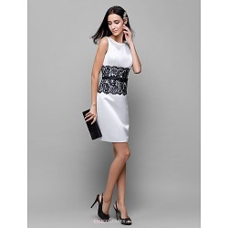 Short Mini Lace Satin Bridesmaid Dress Ivory Sheath Column Scoop