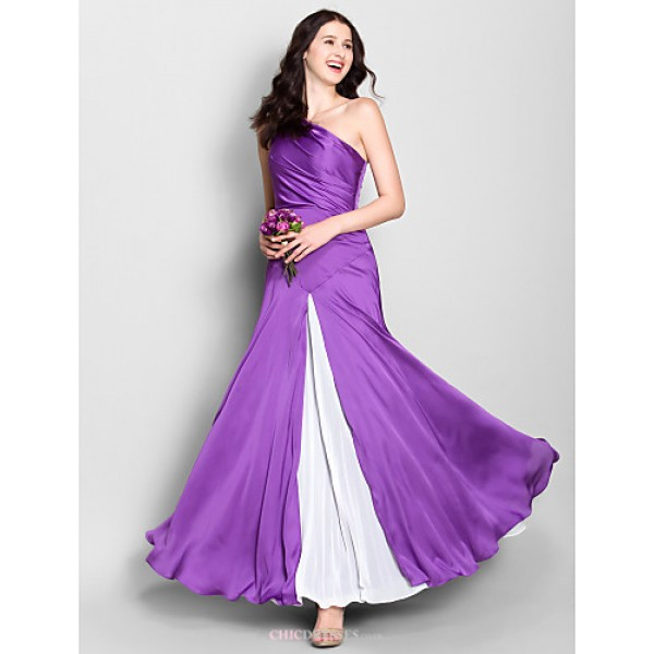 Ankle-length Velet Chiffon Bridesmaid Dress - Lilac Sheath/Column One Shoulder Bridesmaid Dresses