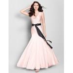 Ankle-length Jersey Bridesmaid Dress - Pearl Pink Trumpet/Mermaid V-neck Bridesmaid Dresses