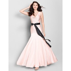 Ankle Length Jersey Bridesmaid Dress Pearl Pink Trumpet Mermaid V Neck