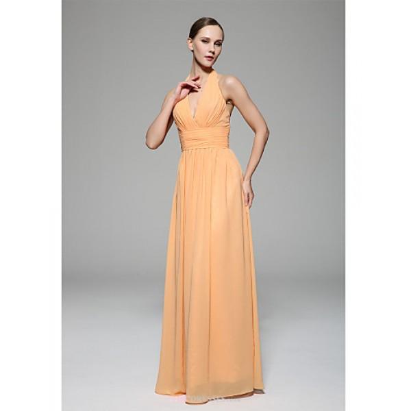 Floor-length Chiffon Bridesmaid Dress - Orange A-line Halter Bridesmaid Dresses