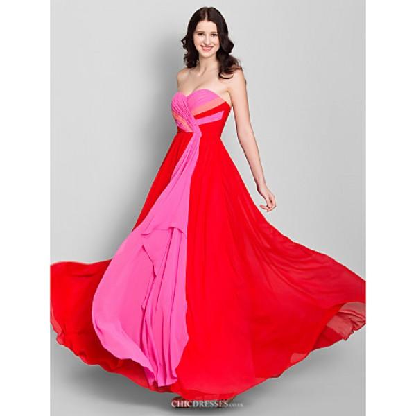 Ankle-length Chiffon Bridesmaid Dress - Multi-color A-line Strapless Bridesmaid Dresses