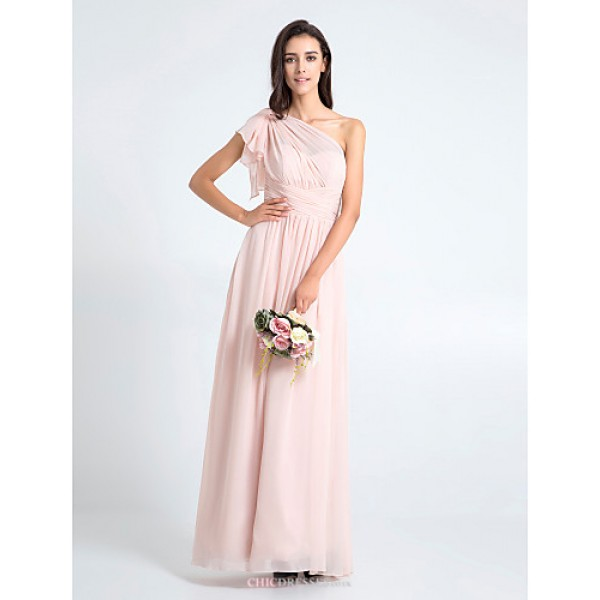 Floor-length Chiffon Bridesmaid Dress - Pearl Pink Plus Sizes / Petite Sheath/Column One Shoulder Bridesmaid Dresses