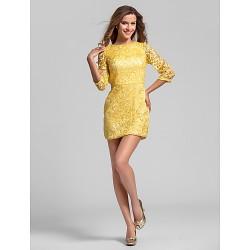 Short Mini Lace Bridesmaid Dress Daffodil Plus Sizes Petite Sheath Column Jewel