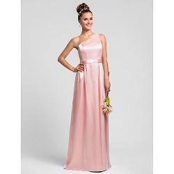 Floor Length Charmeuse Bridesmaid Dress Pearl Pink Plus Sizes Petite Sheath Column One Shoulder