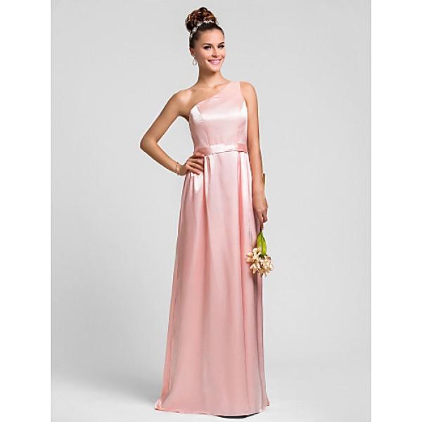 Floor-length Charmeuse Bridesmaid Dress - Pearl Pink Plus Sizes / Petite Sheath/Column One Shoulder Bridesmaid Dresses
