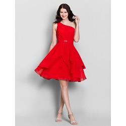 Knee Length Chiffon Bridesmaid Dress Ruby A Line One Shoulder