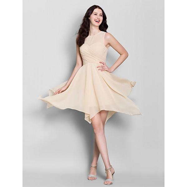 Asymmetrical Chiffon Bridesmaid Dress - Champagne A-line Jewel Bridesmaid Dresses