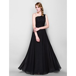 Floor Length Chiffon Bridesmaid Dress Black Plus Sizes Petite A Line One Shoulder