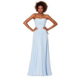 Formal Evening Dress - Light Sky Blue Sheath/Column Strapless Floor-length Chiffon