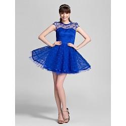 Short/Mini Lace Bridesmaid Dress - Royal Blue Plus Sizes / Petite A-line / Princess Jewel