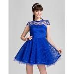 Short/Mini Lace Bridesmaid Dress - Royal Blue Plus Sizes / Petite A-line / Princess Jewel Bridesmaid Dresses