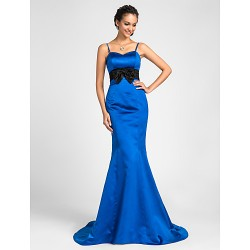 Sweep Brush Train Satin Bridesmaid Dress Royal Blue Plus Sizes Petite Trumpet Mermaid Sweetheart Spaghetti Straps