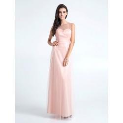 Floor-length Tulle Bridesmaid Dress - Pearl Pink Plus Sizes / Petite Sheath/Column Jewel