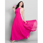Ankle-length Chiffon Bridesmaid Dress - Fuchsia A-line Spaghetti Straps Bridesmaid Dresses