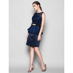 Knee Length Lace Satin Bridesmaid Dress Dark Navy Plus Sizes Petite Sheath Column Jewel