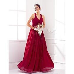 Floor Length Georgette Bridesmaid Dress Burgundy Plus Sizes Petite A Line V Neck