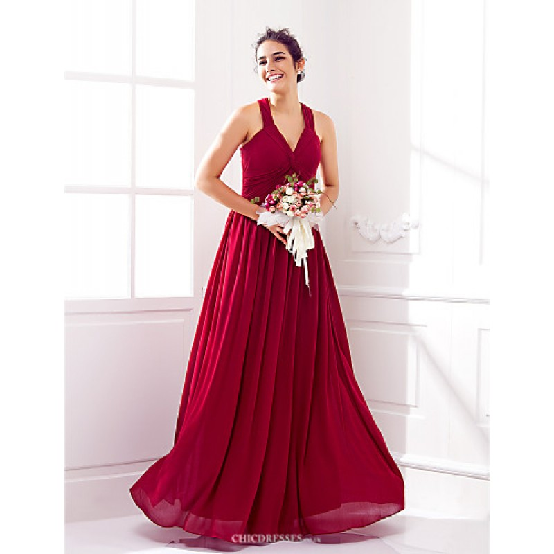 e5ad9d399454e Floor-length Georgette Bridesmaid Dress - Burgundy Plus Sizes   Petite A- line V