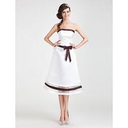 Tea-length Satin / Organza Bridesmaid Dress - Ivory Plus Sizes / Petite A-line / Princess Strapless