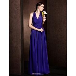Floor Length Chiffon Bridesmaid Dress Regency Plus Sizes Petite A Line Princess V Neck
