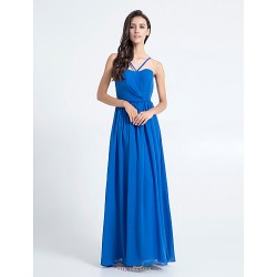 Floor Length Chiffon Bridesmaid Dress Royal Blue Plus Sizes Petite Sheath Column Spaghetti Straps