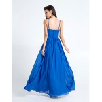 Floor-length Chiffon Bridesmaid Dress - Royal Blue Plus Sizes / Petite Sheath/Column Spaghetti Straps Bridesmaid Dresses