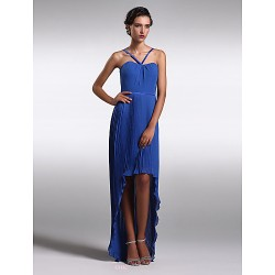 Asymmetrical Chiffon Bridesmaid Dress Royal Blue Plus Sizes Petite Sheath Column Spaghetti Straps
