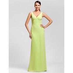 Floor-length Chiffon Bridesmaid Dress - Sage Plus Sizes / Petite Sheath/Column V-neck