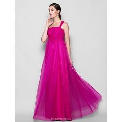 Floor Length Tulle Bridesmaid Dress Fuchsia Plus Sizes Petite Sheath Column One Shoulder