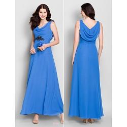Ankle Length Chiffon Bridesmaid Dress Royal Blue A Line Cowl