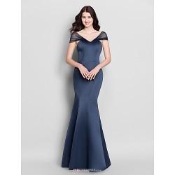 Floor Length Satin Bridesmaid Dress Dark Navy Trumpet Mermaid V Neck