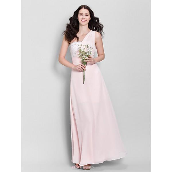 Ankle-length Chiffon Bridesmaid Dress - Pearl Pink Sheath/Column One Shoulder Bridesmaid Dresses