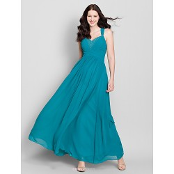 Ankle-length Chiffon Bridesmaid Dress - Dark Green A-line Straps