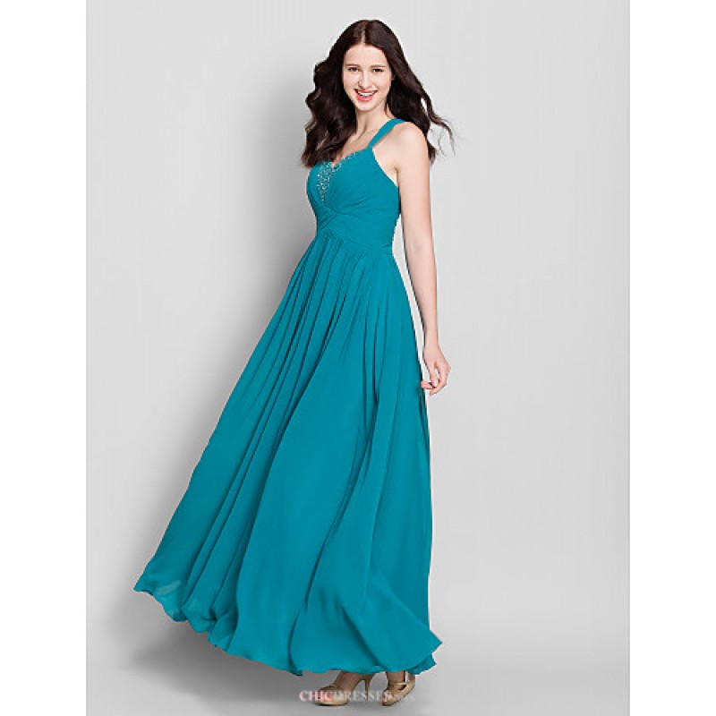 Ankle Length Chiffon Bridesmaid Dress Dark Green A Line