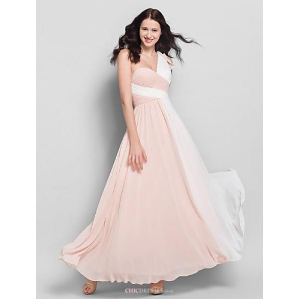 Ankle-length Chiffon Bridesmaid Dress - Multi-color A-line One Shoulder Bridesmaid Dresses