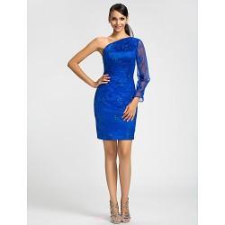 Dress - Royal Blue Plus Sizes / Petite Sheath/Column One Shoulder Short/Mini Lace
