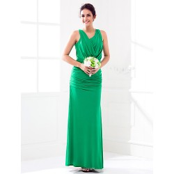 Floor-length Jersey Bridesmaid Dress - Dark Green Plus Sizes / Petite Sheath/Column Cowl